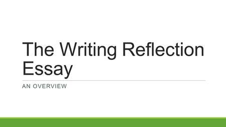 Higher english reflective essay sqa